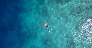 V06448 Aerial flying drone view of Maldives white sandy beach young people snorkeling swimming underwater on sunny Royalty Free Stock Photos