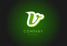 V alphabet letter logo green 3d company vector icon design. V alphabet letter hand written hand writing green white logo 3d vector creative company icon design stock illustration