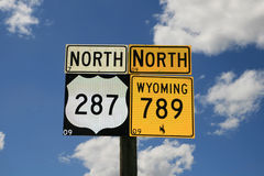vägmärken wyoming Fotografering för Bildbyråer