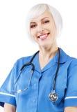 vänlig sjuksköterskawhite för bakgrund arkivbild