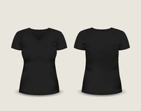 V-Ausschnitts-T-Shirt kurzer Ärmel der Frauen schwarzer mit in Front und hinteren Ansichten Rand der Farbband-, Lorbeer- und Eich Stock Abbildung