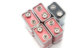 9 V batteries in perspective closeup view Stock Photos