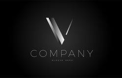 V black white silver letter logo design icon alphabet 3d Stock Photography