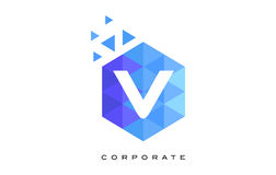 V Blue Hexagonal Letter Logo Design with Mosaic Pattern. V Blue Hexagonal Letter Logo Design with Mosaic Blue Pattern royalty free illustration