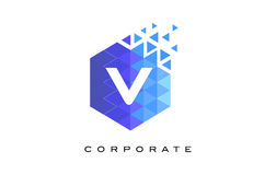 V Blue Hexagonal Letter Logo Design with Mosaic Pattern. V Blue Hexagonal Letter Logo Design with Mosaic Blue Pattern Stock Images
