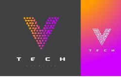 V bokstav Logo Technology FörbindelseDots Letter Design Vector Arkivbild