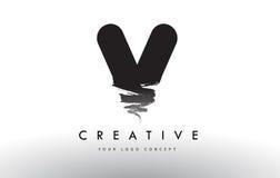 V Brushed Letter Logo. Black Brush Letters design with Brush str Stock Photo