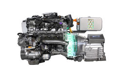 V6 car hybrid engine Royalty Free Stock Image