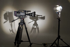 �V the chamber in studio. Searchlight and silhouette of the chamber Stock Photo