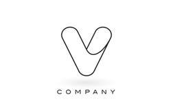 V contorno del profilo di Logo With Thin Black Monogram della lettera del monogramma Fotografie Stock