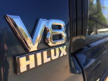 V8 Conversion. A blue Hilux V8 double cab, engine conversion 4x4 truck royalty free stock photo