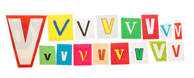 V  cut out letters set Stock Photo