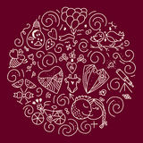 V - Day CONCEPT. Circle design element with different romantic icons - wedding, gender, balloon, bee, bicycle, flower. Isolated vector design element made in royalty free illustration