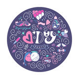 V - Day PARTY. St. Valentines Day PARTY. Romantic typography. Lettering made by hand. Hand drawn illustration for postcard, save the date card, romantic royalty free illustration