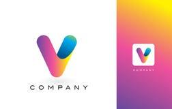 V de Mooie Kleuren van Logo Letter With Rainbow Vibrant V Kleurrijk T Royalty-vrije Stock Afbeelding