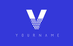 V Dotted Letter Logo Design with Blue Background. Royalty Free Stock Image
