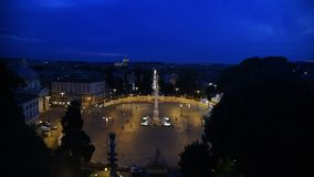 V en la opinión de la noche de Roma almacen de video