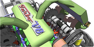 V8 Engine. Colour illustration of a car engine Royalty Free Stock Image