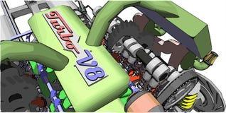 V8 Engine. Colour illustration of a car engine. V8 Engine. Colour vector illustration of a car engine royalty free illustration