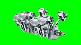 V8 engine crankshaft rotation of animation on chroma key. 3d stock video footage