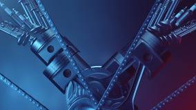 V6 engine inside, animation in motion, pistons, camshaft, chain, valves and other mechanical parts car. Illustration of vector illustration