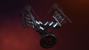 V6 engine inside, animation in motion, pistons, camshaft, chain, valves and other mechanical parts car. Illustration of royalty free illustration