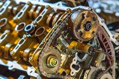 V8 engine out on hoist to get rebuilt royalty free stock images