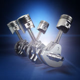 V4 engine pistons and cog on black background. 3d Stock Photo
