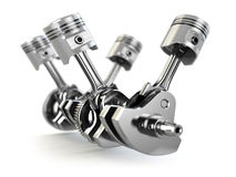 V4 engine pistons and cog Royalty Free Stock Image