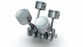 V4 engine pistons. 3D image stock footage