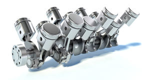 V10 engine pistons. 3D Stock Photo