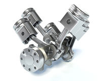 V6 engine pistons. 3D. White Stock Photos