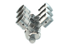 V6 engine pistons 3D. On white background Royalty Free Stock Photography