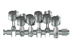V12 engine pistons 3D. On white background Stock Image