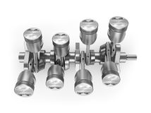 V8 engine pistons in top view. 3D image Stock Photo