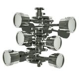 V6 engine pistons in top view. 3D image vector illustration