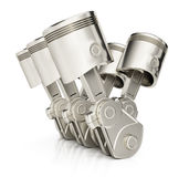 V6 engine pistons. On white background. 3d render Royalty Free Stock Photography