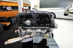 V12 engine of Rolls Royce Phantom Drophead Coupe on display in BMW Welt Stock Images