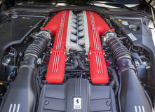 V12 exotic car engine. From a fast Italian GT car Royalty Free Stock Photography