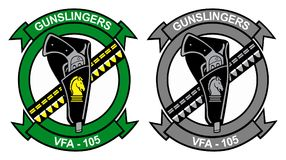 V F A - 105 Gunslingers Logo - Show bird and Tactical Gray. V F A -105 Gunslingers Logo - Show bird and Tactical Gray. Transparent background is also available vector illustration