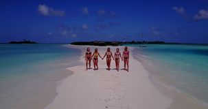 V13813 Five 5 walking beautiful young girls in bikini sunbathing with drone aerial flying view on white sand island Stock Photography
