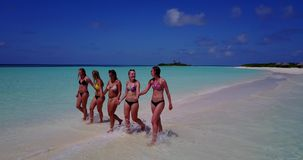 V13817 Five 5 walking beautiful young girls in bikini sunbathing with drone aerial flying view on white sand island Royalty Free Stock Photo