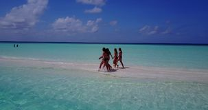 V13818 Five 5 walking beautiful young girls in bikini sunbathing with drone aerial flying view on white sand island Stock Photo