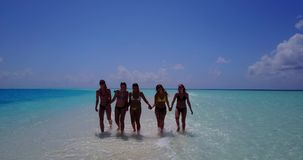 V13826 Five 5 walking beautiful young girls in bikini sunbathing with drone aerial flying view on white sand island Stock Image