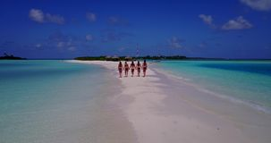 V13811 Five 5 walking beautiful young girls in bikini sunbathing with drone aerial flying view on white sand island Stock Photos
