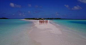 V13812 Five 5 walking beautiful young girls in bikini sunbathing with drone aerial flying view on white sand island Stock Image