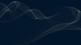 V?g av partiklar Futuristisk punktv?g ocks? vektor f?r coreldrawillustration Abstrakt bakgrund med en dynamisk v?g V?g 3d stock illustrationer