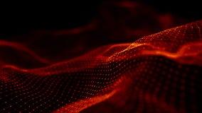 V?g av r?da partiklar Abstrakt brandbakgrund med en dynamisk v?g framf?rande 3d vektor illustrationer