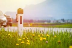 V?g i sommaren: reflektorstolpe, bilar, blommor och gr?nt gr?s sunbeam fotografering för bildbyråer
