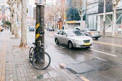 V?gcykel p? stadsgatan parkera på trädsideroad, den stads- platsen, vägcykeln och bilen arkivfoton